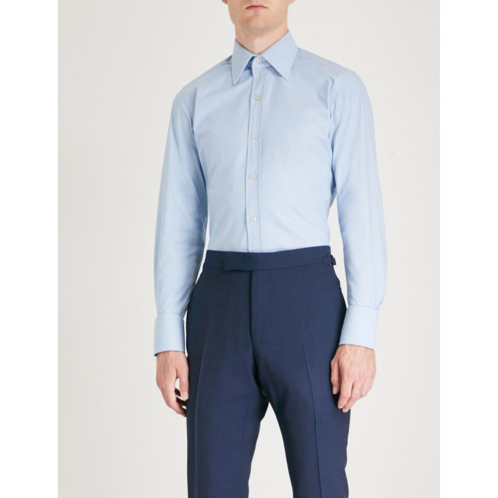 トム フォード メンズ トップス シャツ【micro houndstooth regular-fit cotton shirt】Sky blue