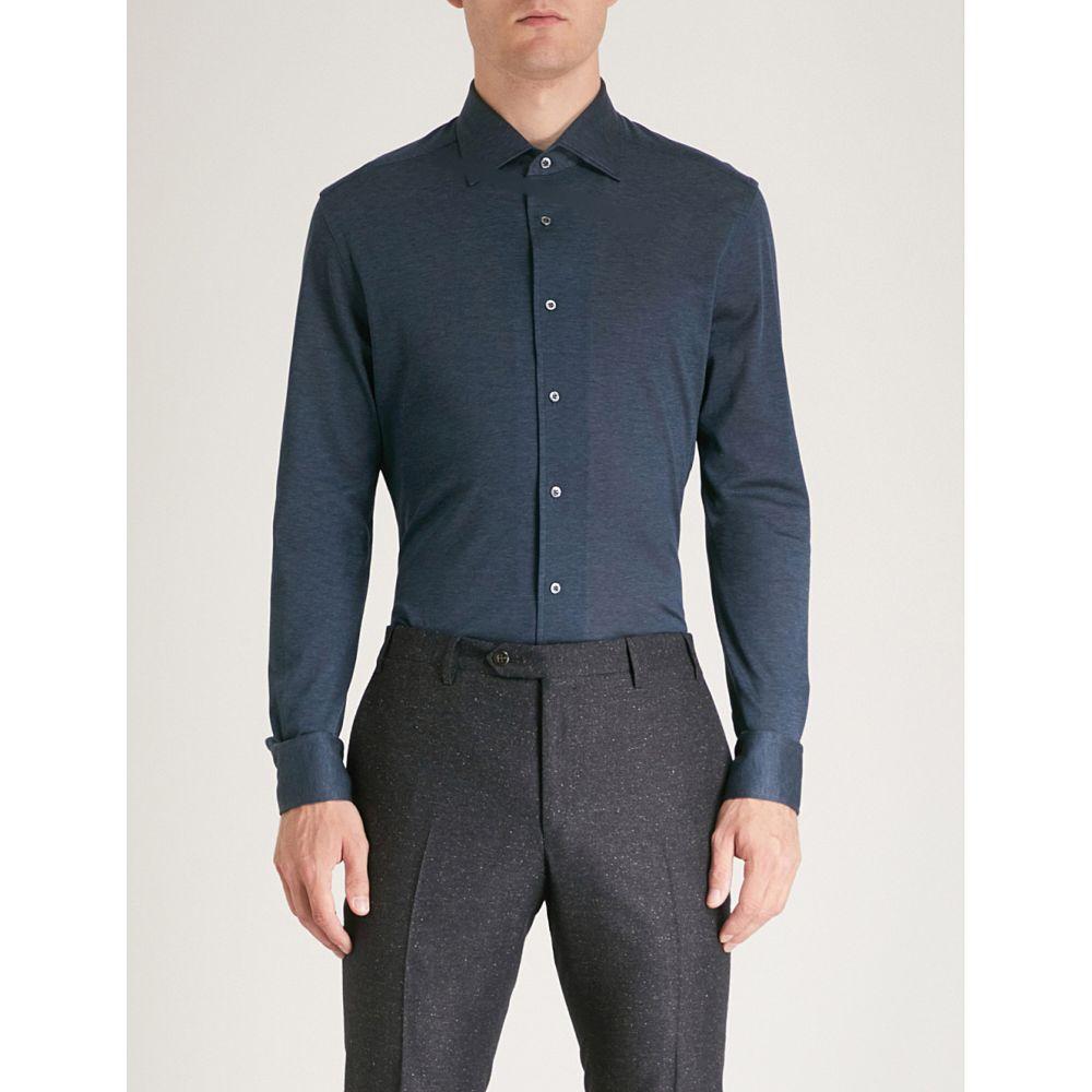 コルネリアーニ メンズ トップス シャツ【textured regular-fit cotton-pique shirt】Navy
