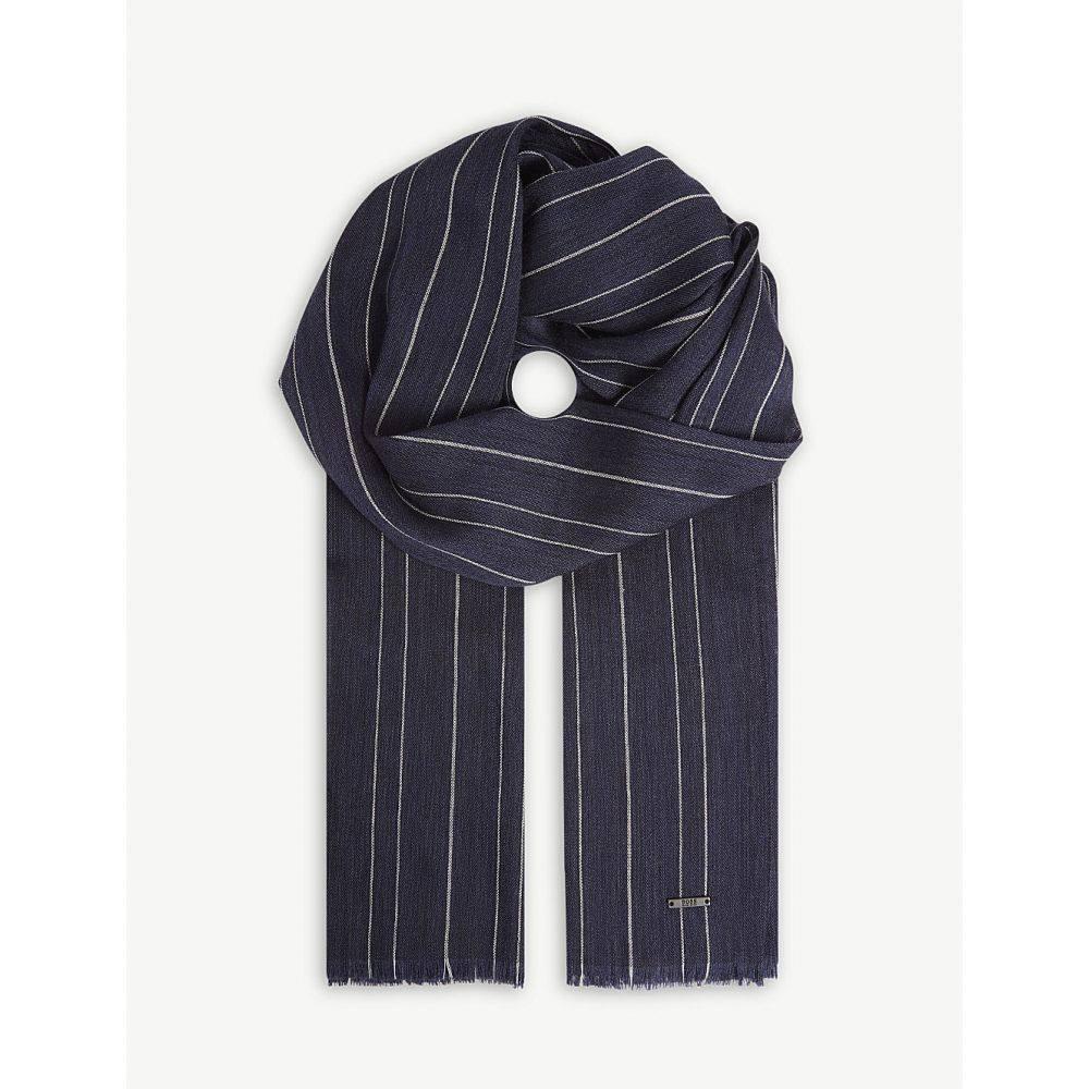 ヒューゴ ボス メンズ マフラー・スカーフ・ストール【striped wool-blend scarf】Open blue