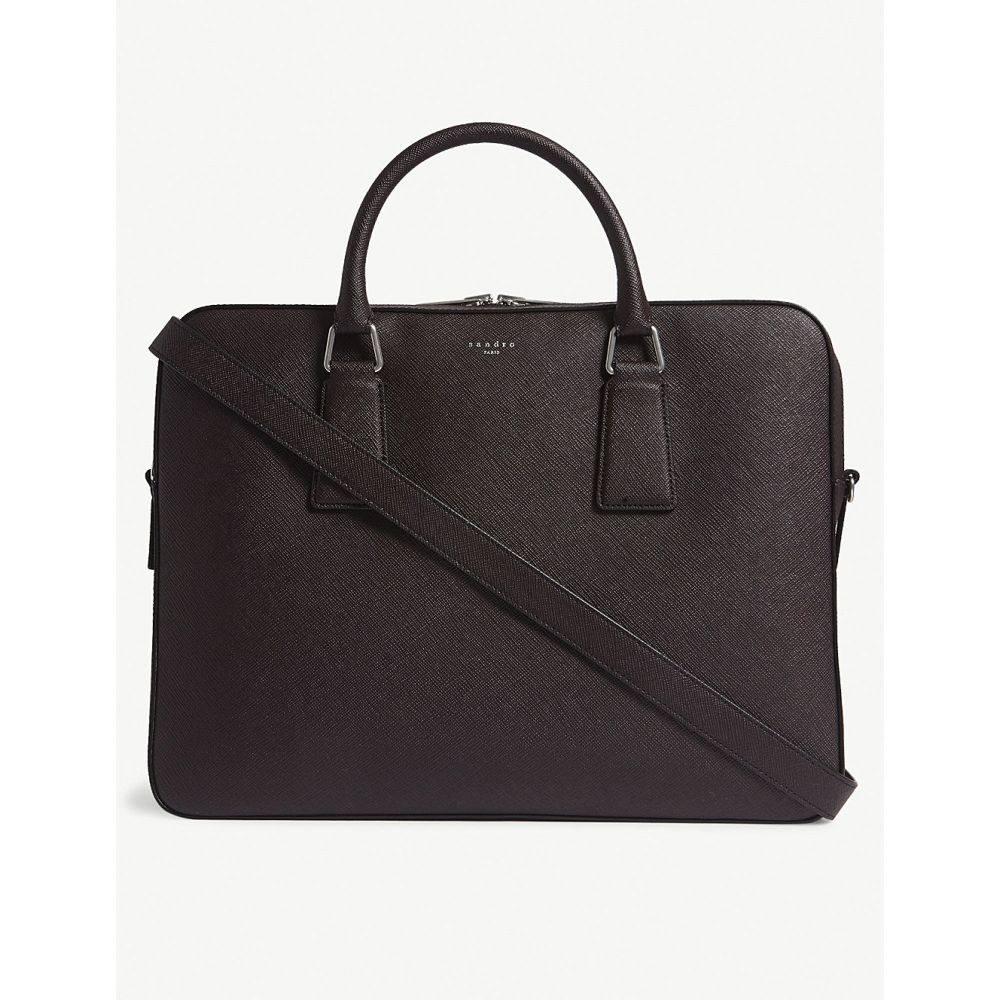 サンドロ メンズ バッグ ビジネスバッグ・ブリーフケース【downtown large saffiano leather briefcase】Burgundy red black