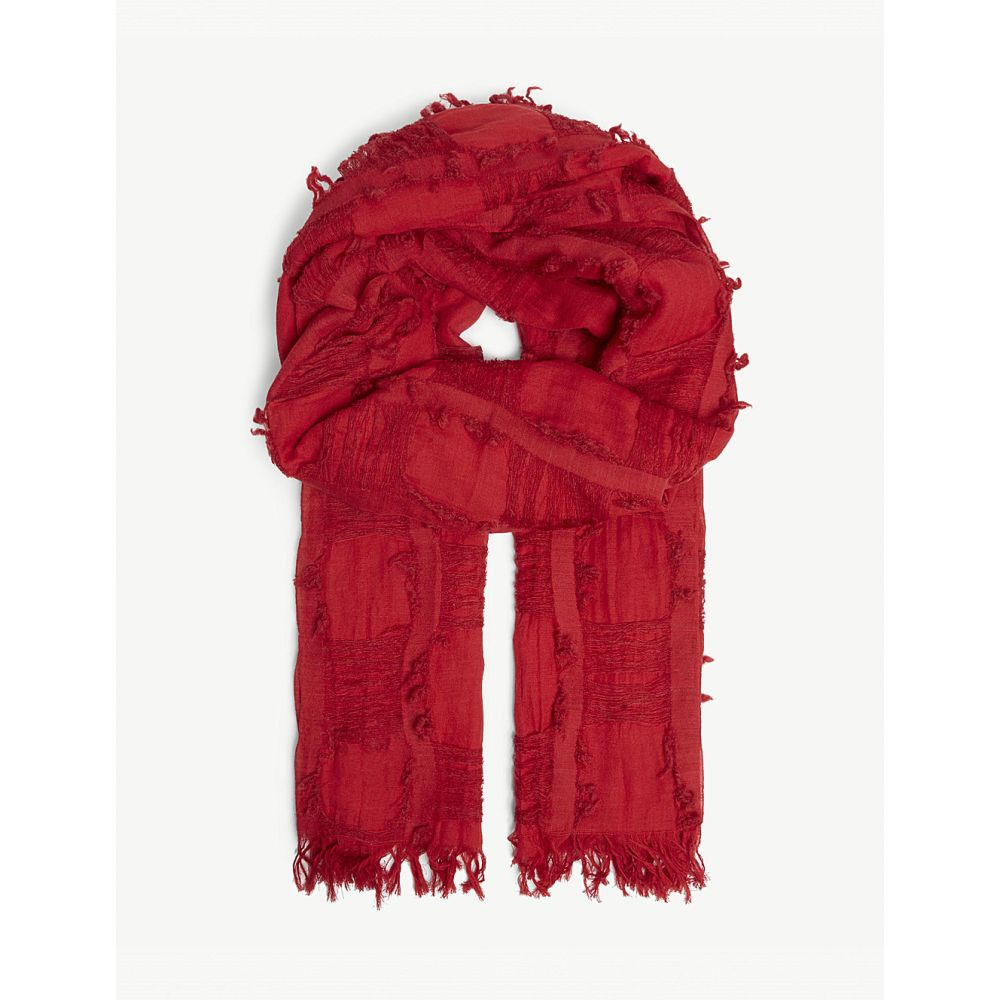 ys レディース マフラー・スカーフ・ストール【cotton and wool-blend scarf】Red