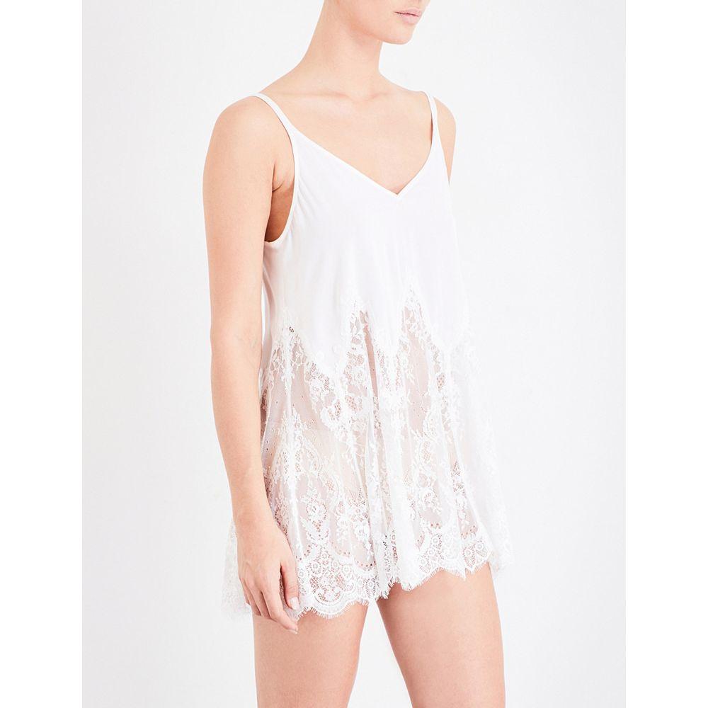 エヌケー アイモード レディース インナー・下着 スリップ・キャミソール【oh my swing stretch-silk and floral-lace babydoll chemise】Ivory