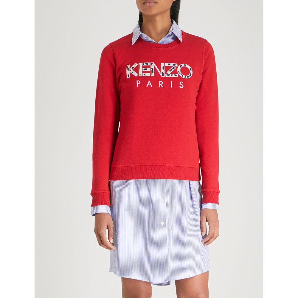ケンゾー レディース トップス スウェット・トレーナー【leopard logo-embroidered cotton-jersey sweatshirt】Medium red