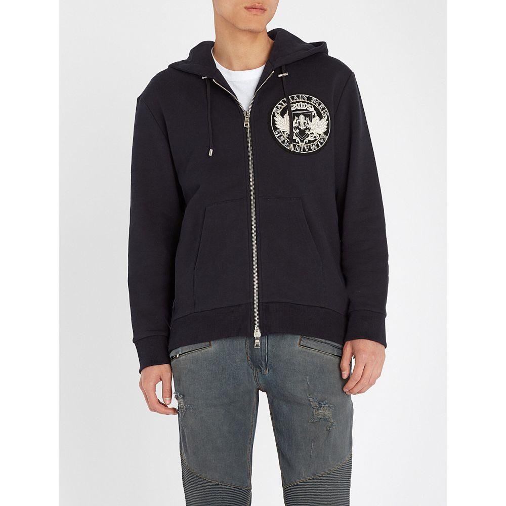 バルマン メンズ トップス パーカー【embroidered cotton-jersey hoody】Multicolore