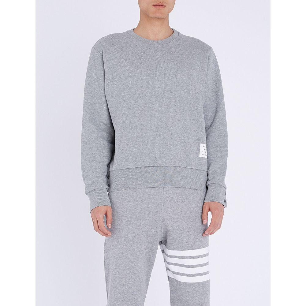 トム ブラウン メンズ トップス スウェット・トレーナー【logo-taping cotton-jersey sweatshirt】Light grey