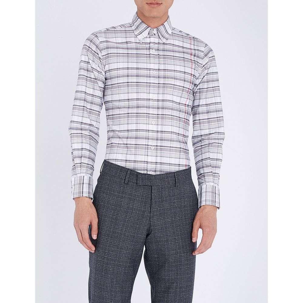 トム ブラウン メンズ トップス シャツ【checked slim-fit cotton-oxford shirt】Med grey