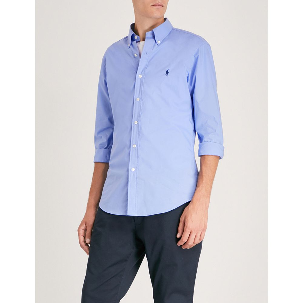 ラルフ ローレン メンズ トップス シャツ【logo-embroidered slim-fit cotton shirt】Periwinkle blue