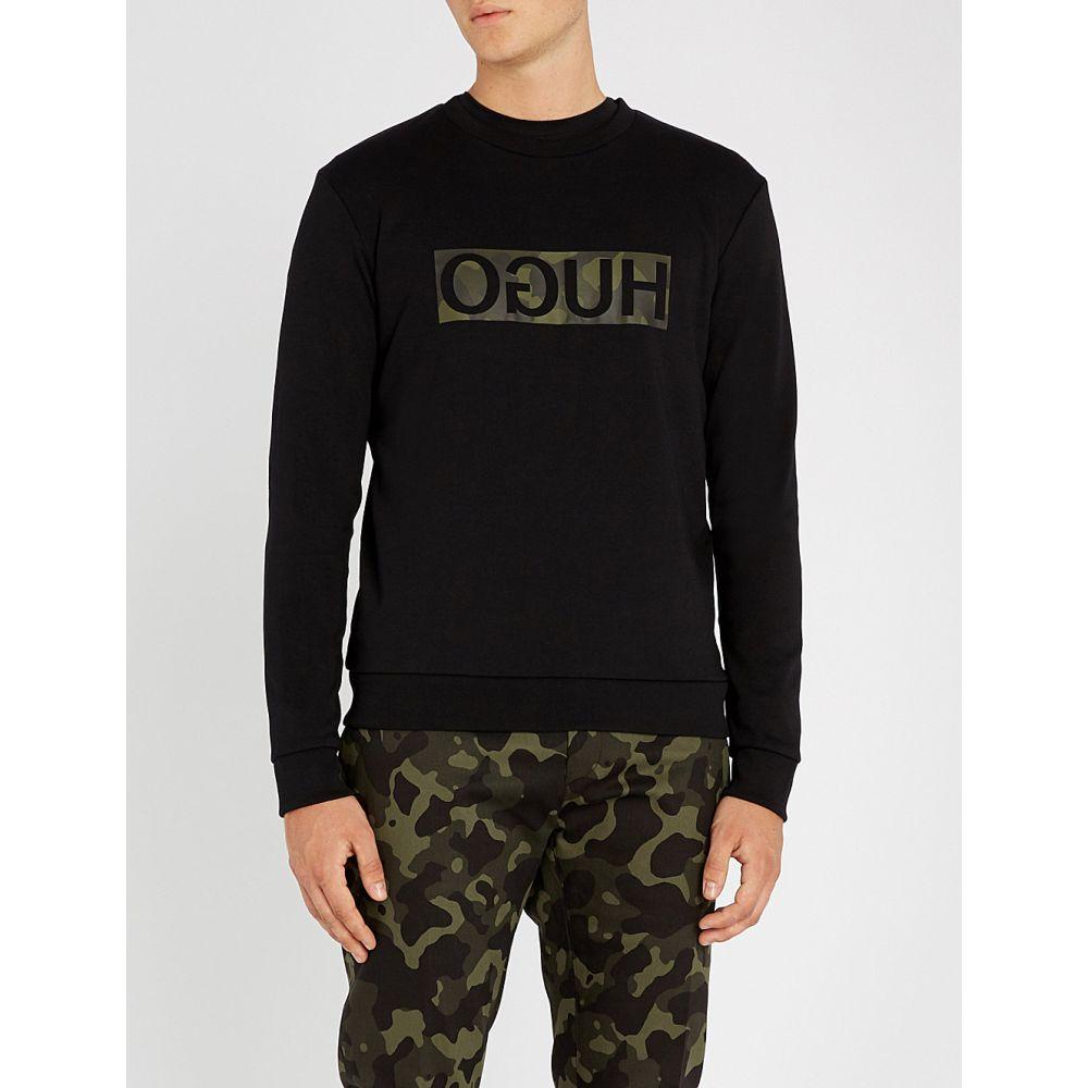 ヒューゴ ボス メンズ トップス 長袖Tシャツ【reverse logo cotton-jersey t-shirt】Black
