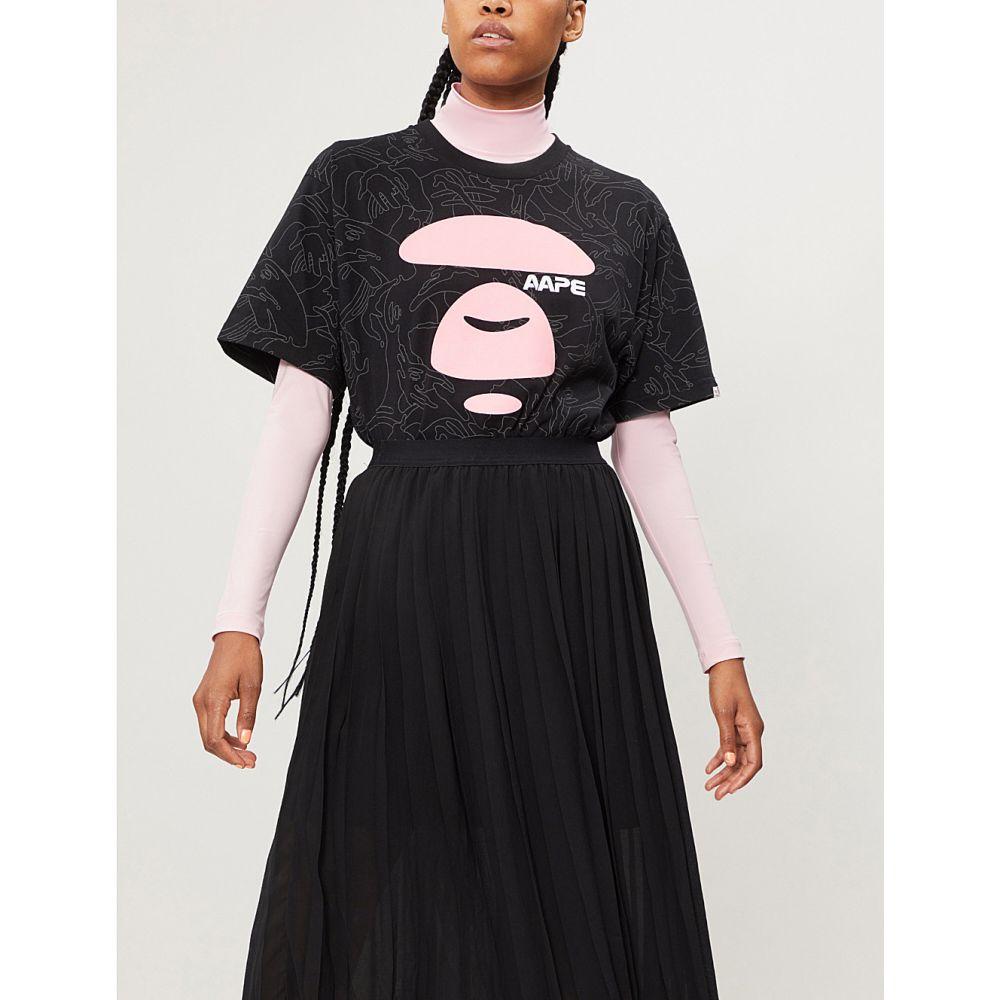エーエイプ レディース トップス チュニック【logo-print cotton-jersey tunic】Black