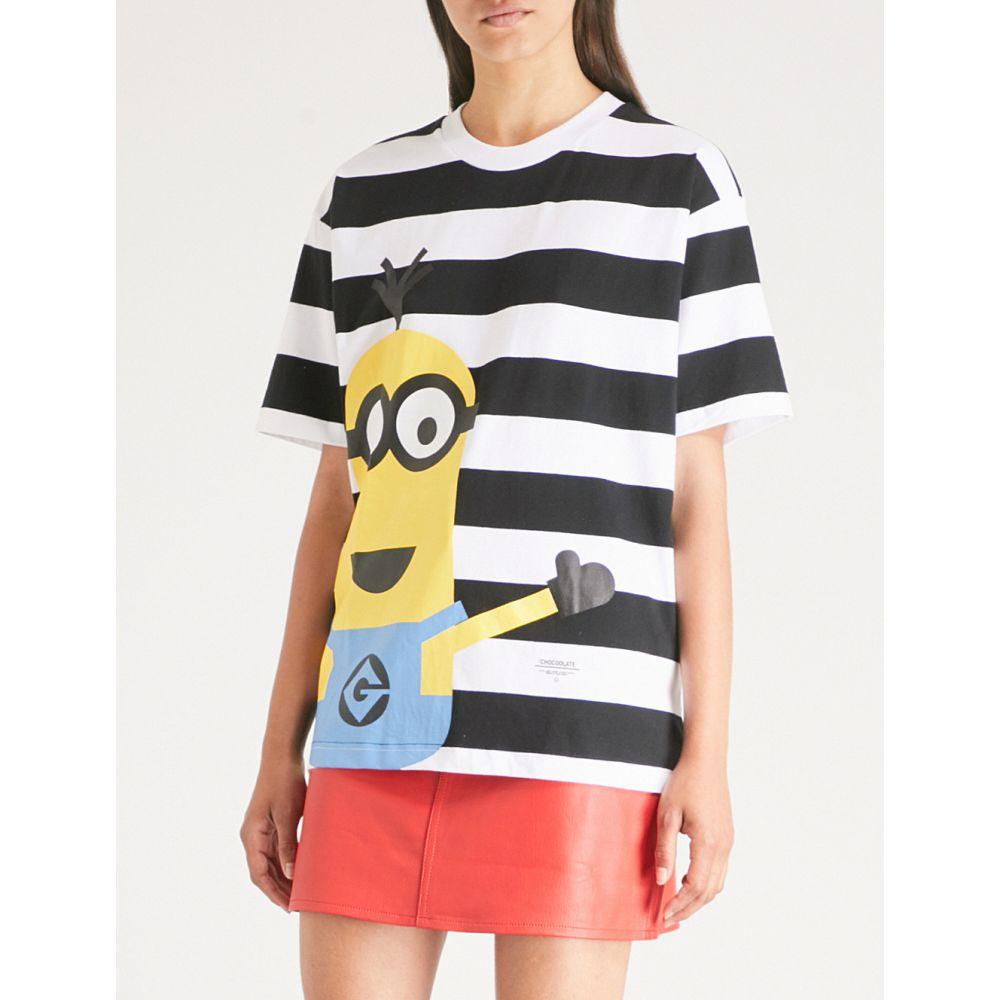 チョコレート レディース トップス Tシャツ【minion-print striped cotton-jersey t-shirt】Black