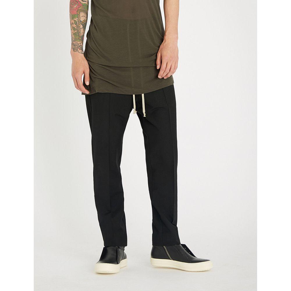 リック オウエンス メンズ ボトムス・パンツ スラックス【dropped-crotch relaxed-fit straight wool trousers】Black