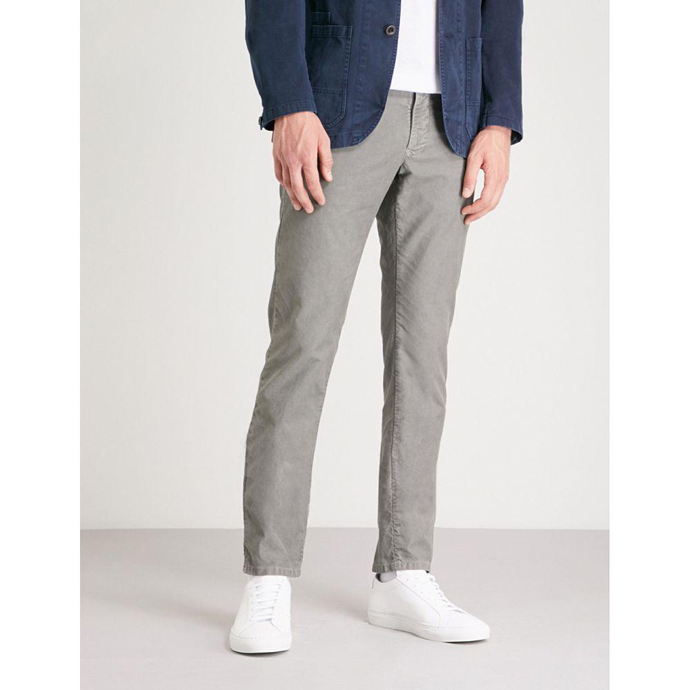 スローウエア メンズ ボトムス・パンツ スキニー・スリム【garment-dyed slim-fit stretch-cotton trousers】Light grey
