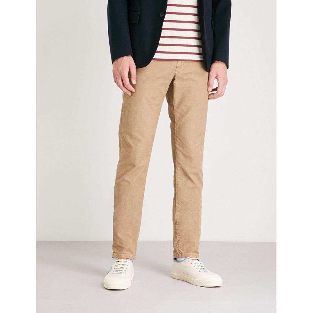 スローウエア メンズ ボトムス・パンツ スキニー・スリム【garment-dyed slim-fit stretch-cotton trousers】Light brown