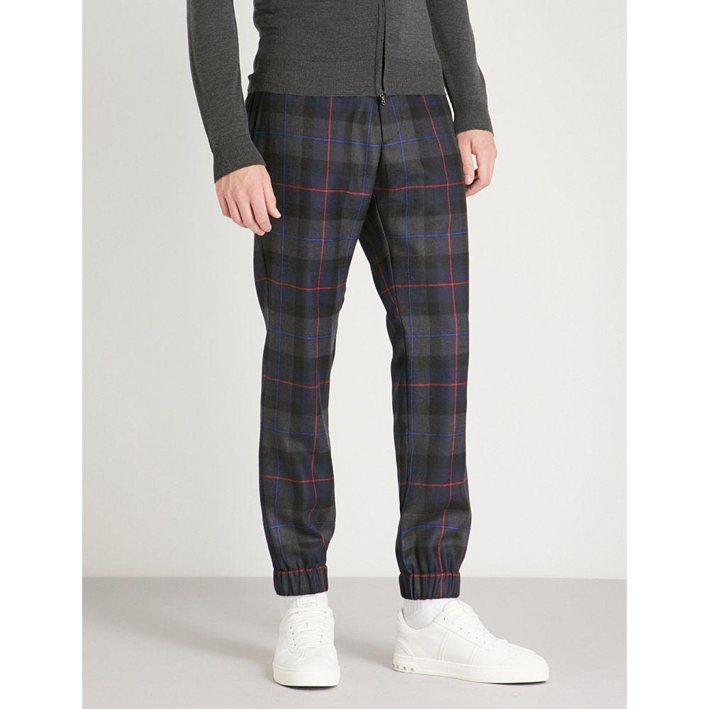 エトロ メンズ ボトムス・パンツ スラックス【checked regular-fit tapered wool trousers】Navy red