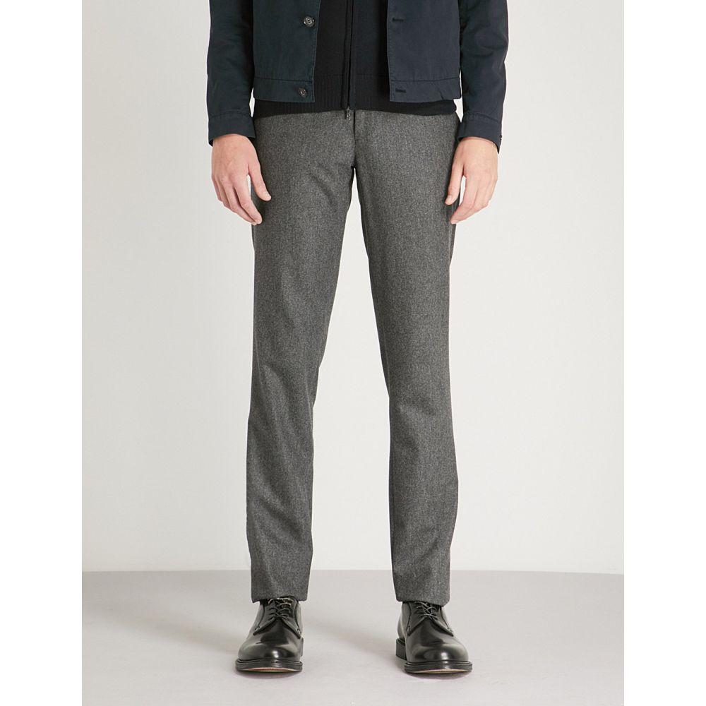 スローウエア メンズ ボトムス・パンツ スラックス【wool flannel slim-fit trousers】Charcoal