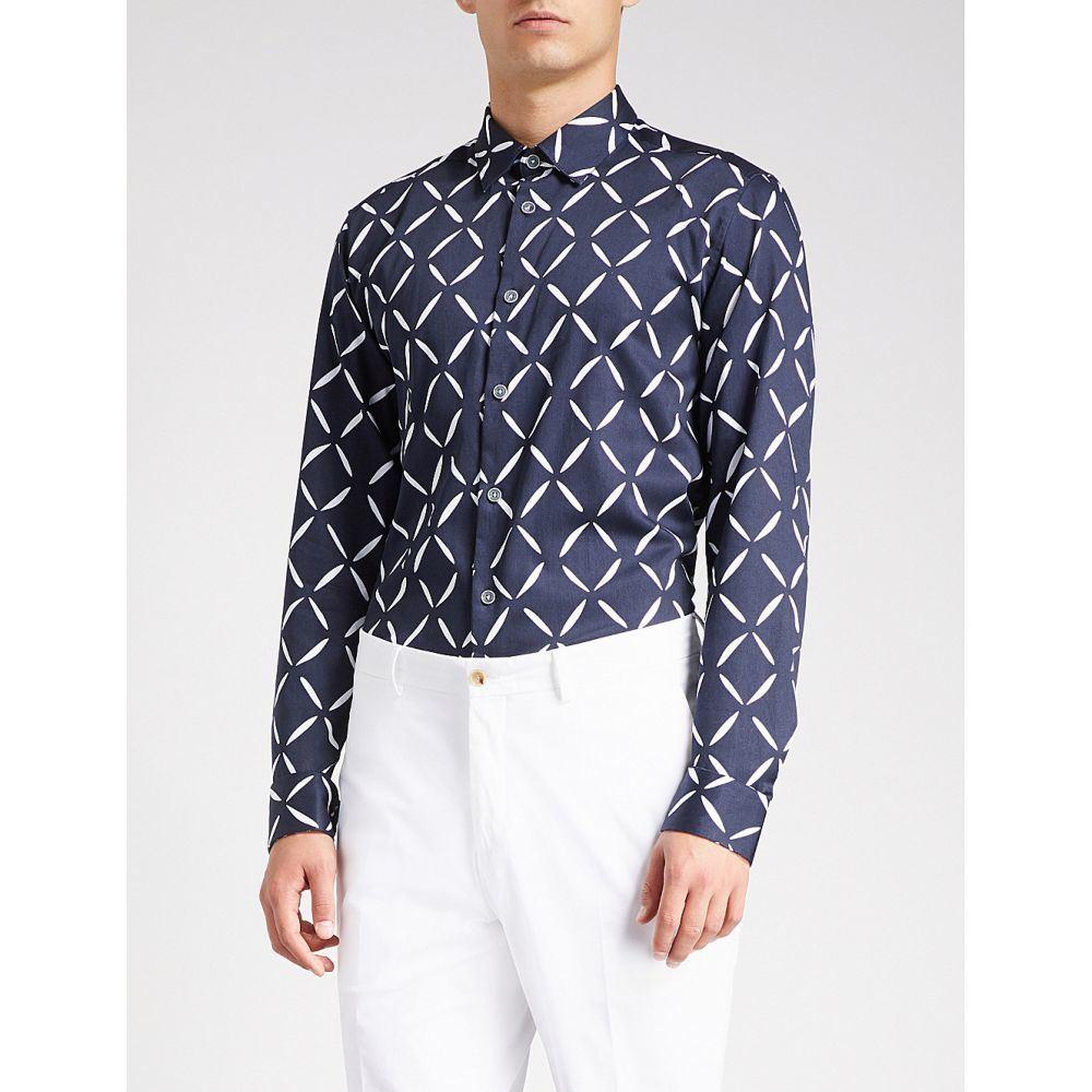 テッドベーカー メンズ トップス シャツ【geometric-print cotton shirt】Navy