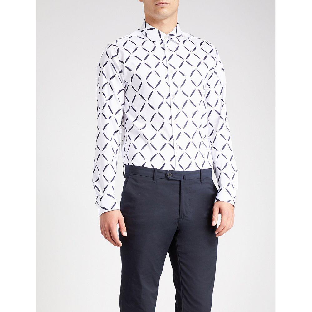 テッドベーカー メンズ トップス シャツ【geometric-print cotton shirt】White