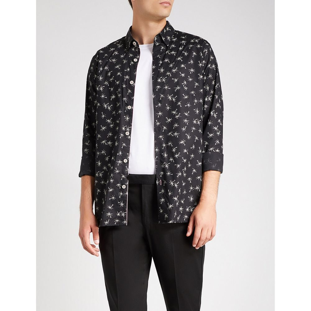テッドベーカー メンズ トップス シャツ【palm print regular-fit stretch-cotton shirt】Black