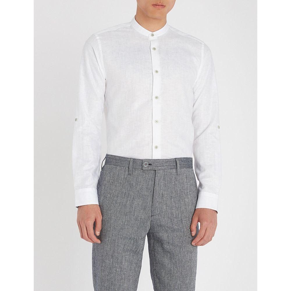 テッドベーカー メンズ トップス シャツ【felday granddad-collar cotton-linen shirt】White