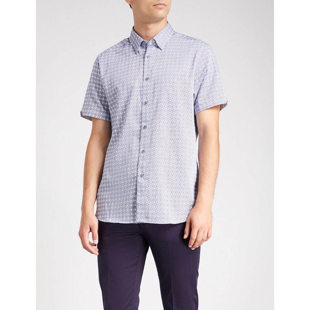 テッドベーカー メンズ トップス 半袖シャツ【printed regular-fit cotton shirt】Navy