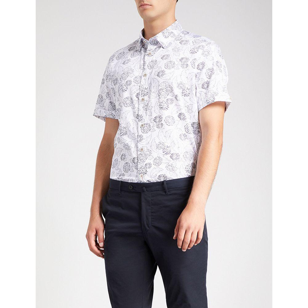 テッドベーカー メンズ トップス 半袖シャツ【floral-print regular-fit cotton shirt】White