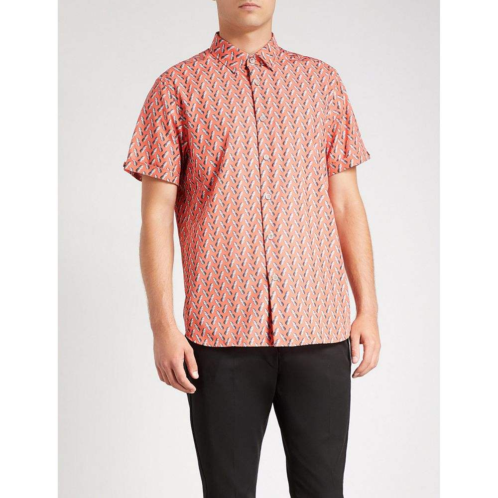 テッドベーカー メンズ トップス 半袖シャツ【pineapple-print cotton shirt】Coral