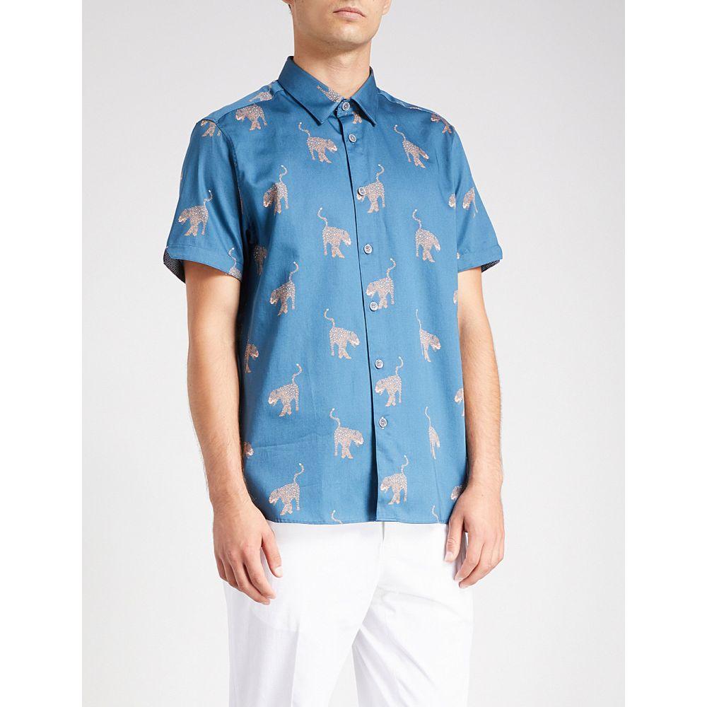 テッドベーカー メンズ トップス 半袖シャツ【panther-print cotton shirt】Blue