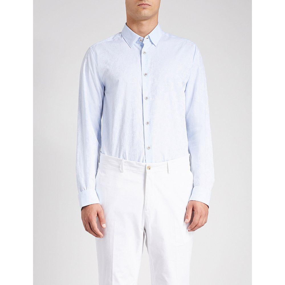 テッドベーカー メンズ トップス シャツ【floral-jacquard regular-fit cotton shirt】Blue