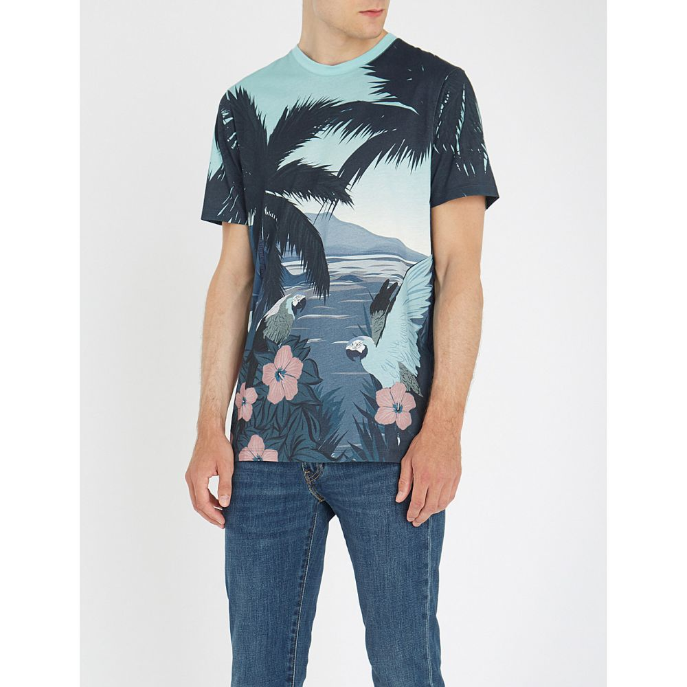 テッドベーカー メンズ トップス Tシャツ【palm-tree cotton t-shirt】Blue