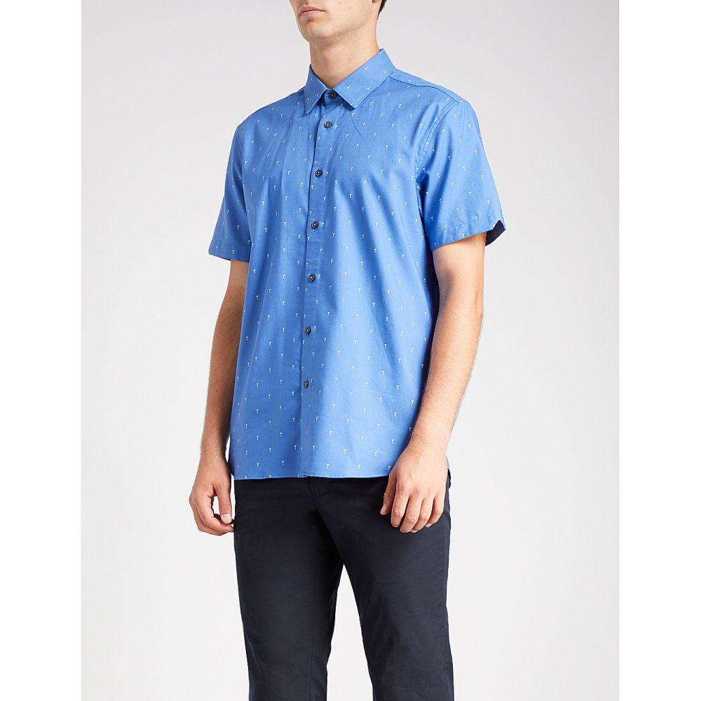 テッドベーカー メンズ トップス 半袖シャツ【cocktail-print cotton shirt】Blue