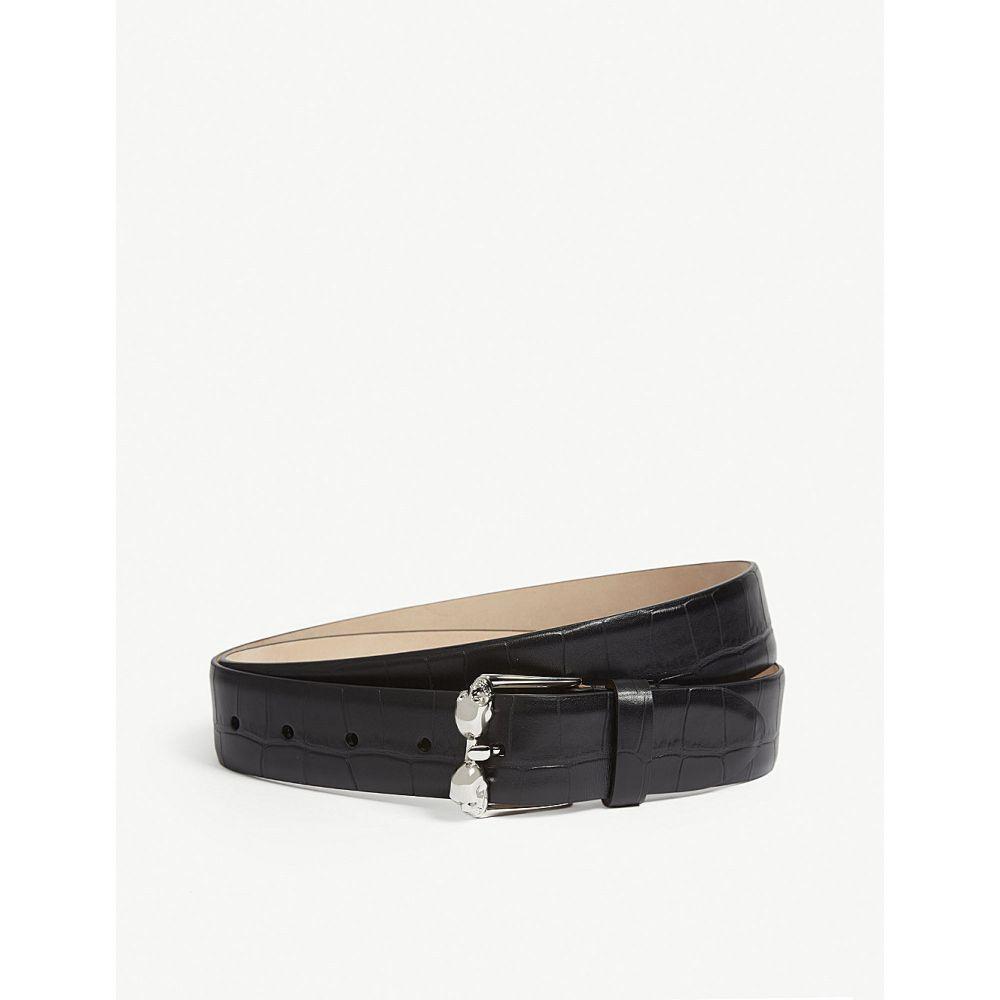 アレキサンダー マックイーン メンズ ベルト【skull buckle reptile-effect leather belt】Black