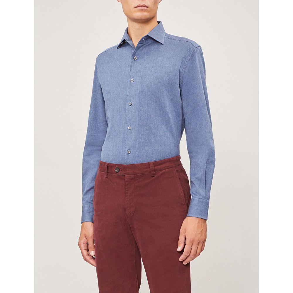 コルネリアーニ corneliani メンズ トップス シャツ【regular-fit cotton-twill shirt】Blue