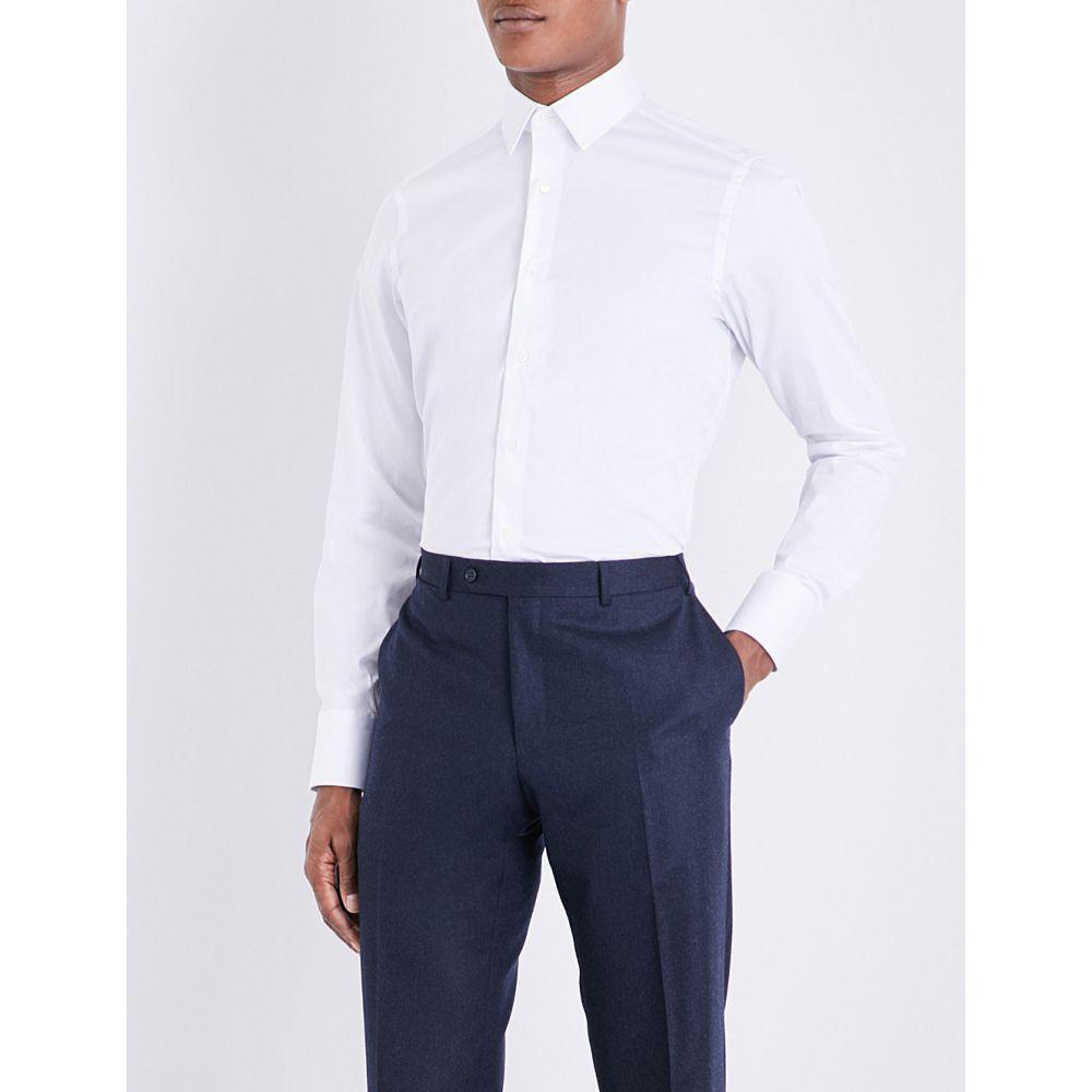 カナーリ canali メンズ トップス シャツ【slim-fit stretch-cotton shirt】White