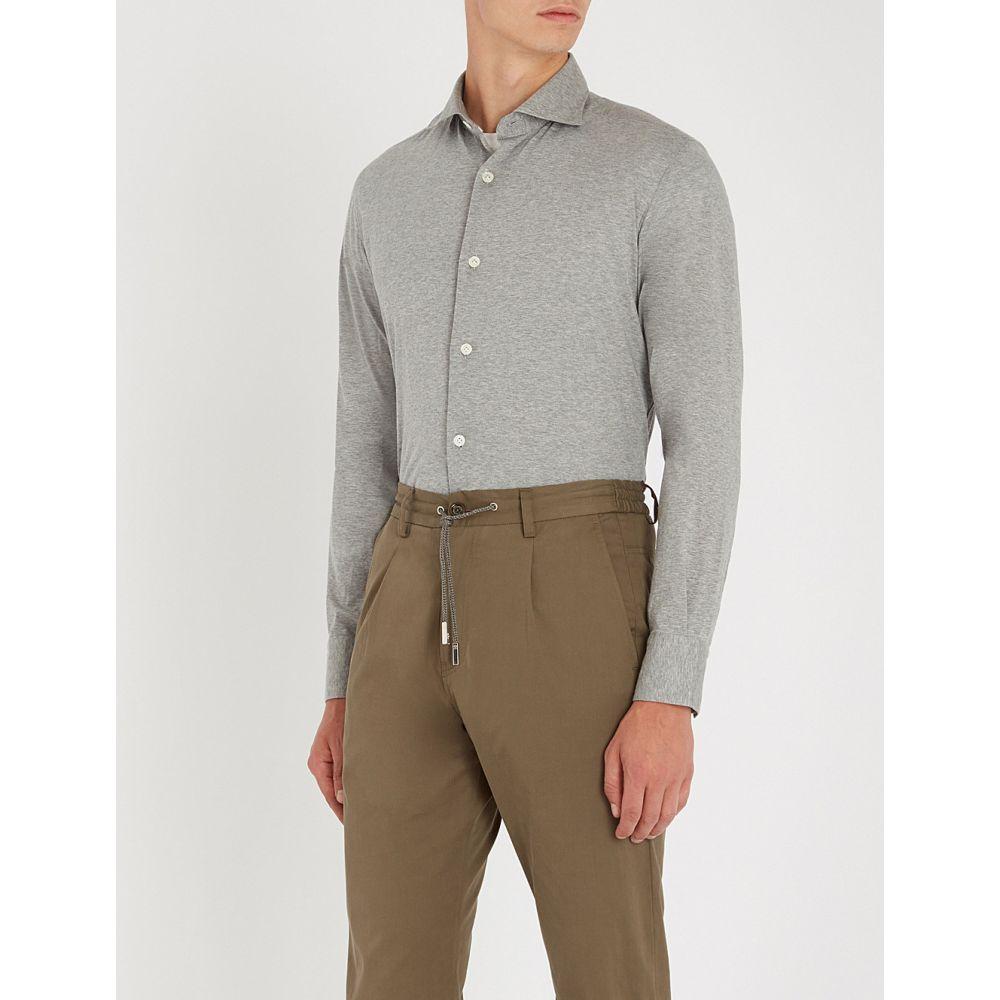 イレブンティ eleventy メンズ トップス シャツ【cut-away collar cotton-jersey shirt】Grey