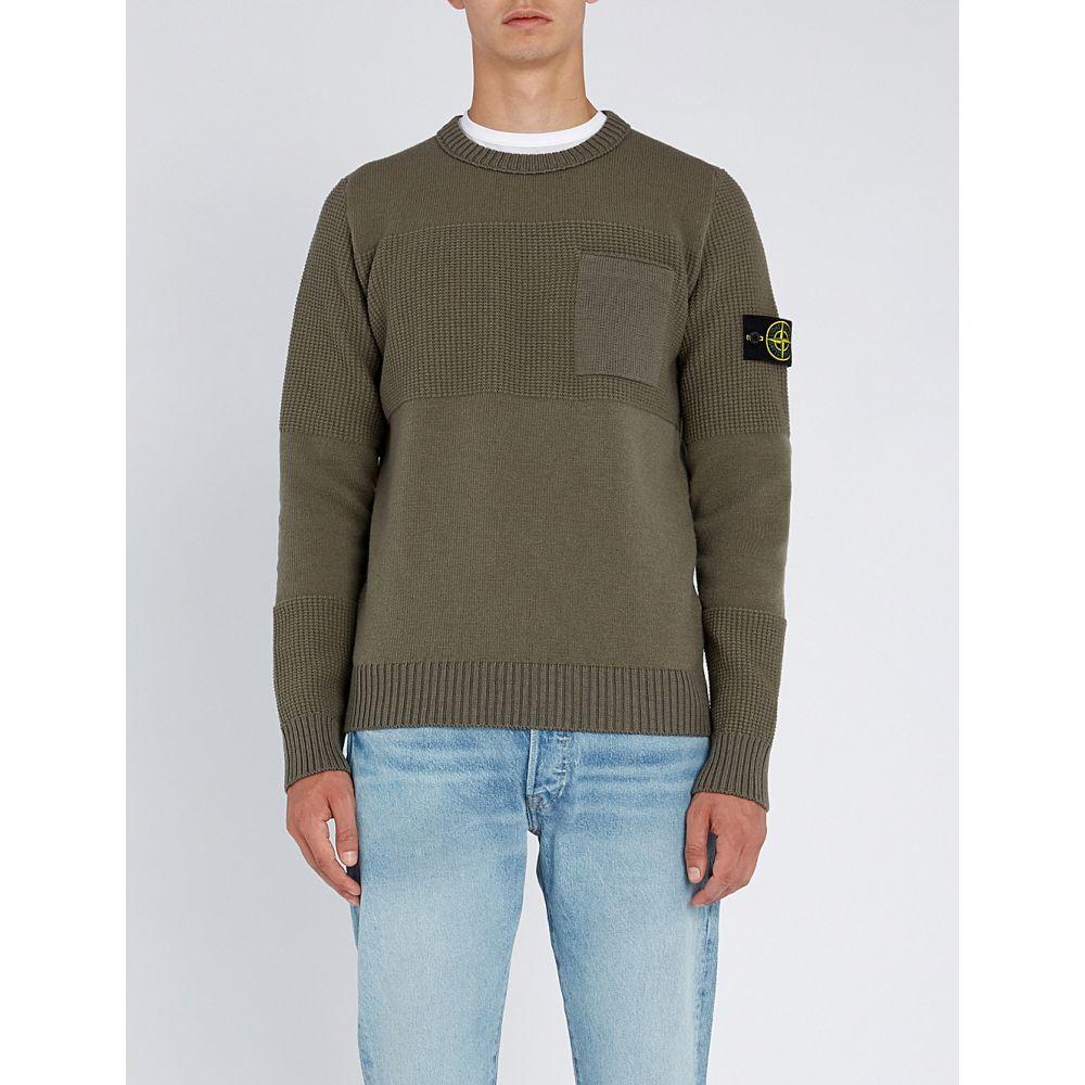 ストーンアイランド stone island メンズ トップス ニット・セーター【textured-panel wool-blend jumper】Olive