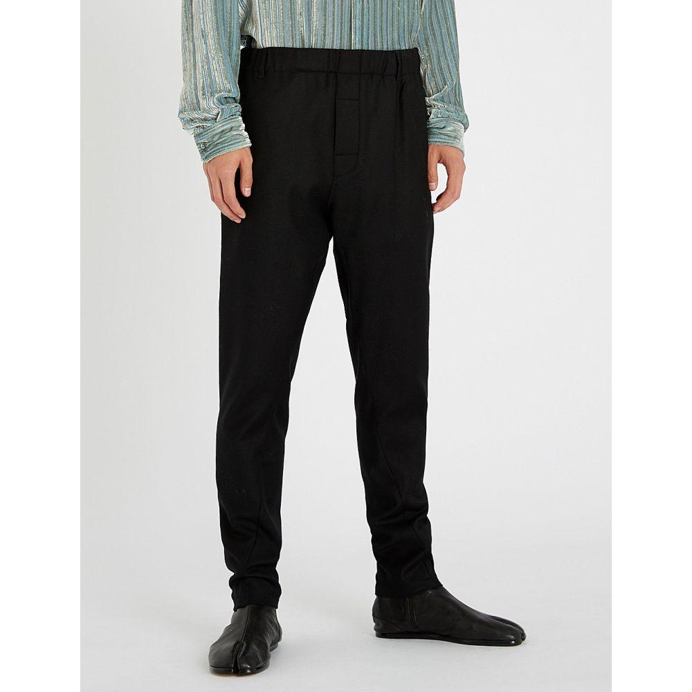 アンドゥムルメステール ann demeulemeester メンズ ボトムス・パンツ【elasticated-waist regular-fit wool-blend trousers】Black