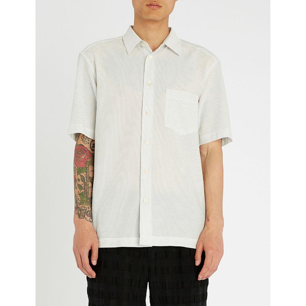 イッセイ ミヤケ issey miyake メンズ トップス 半袖シャツ【striped regular-fit textured cotton-blend shirt】White