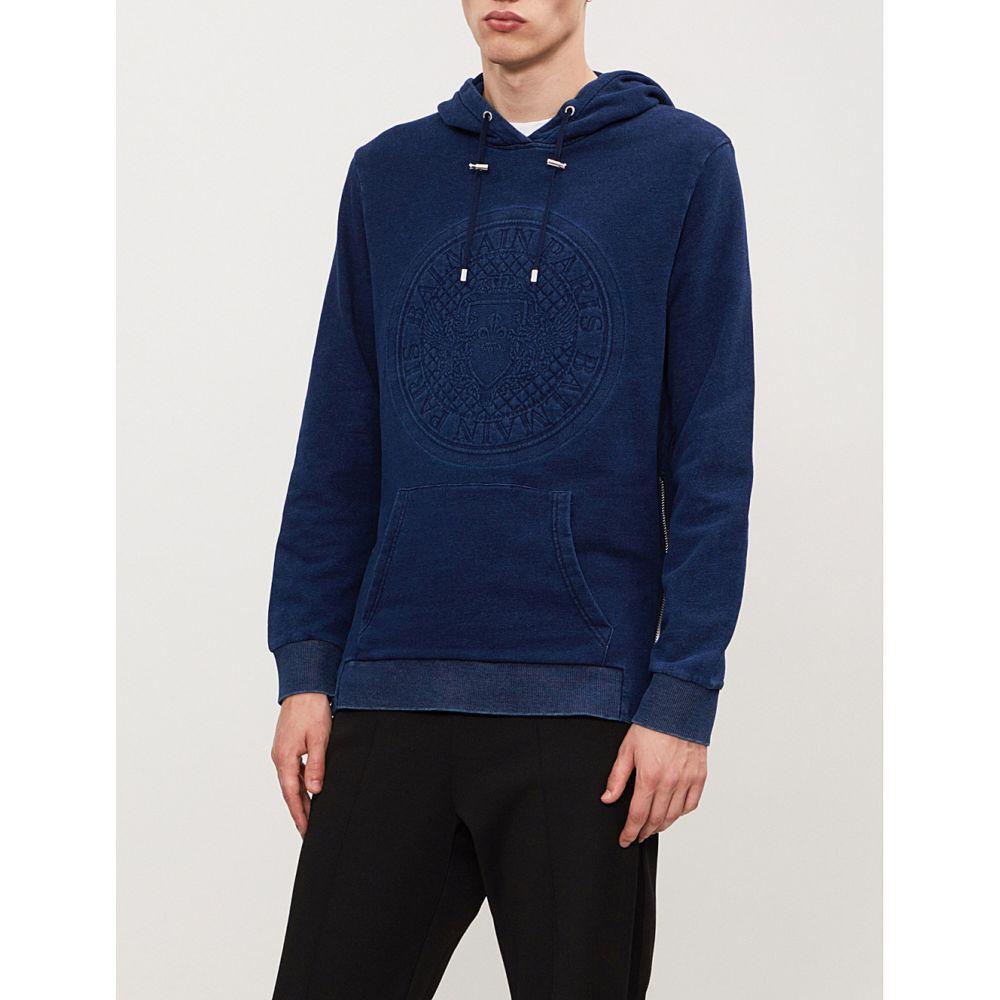 バルマン balmain メンズ トップス パーカー【logo-print cotton-jersey hoody】Bleu