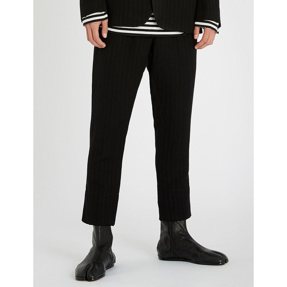 アンドゥムルメステール ann demeulemeester メンズ ボトムス・パンツ【chevron-patterned wool-blend trousers】Oberon black