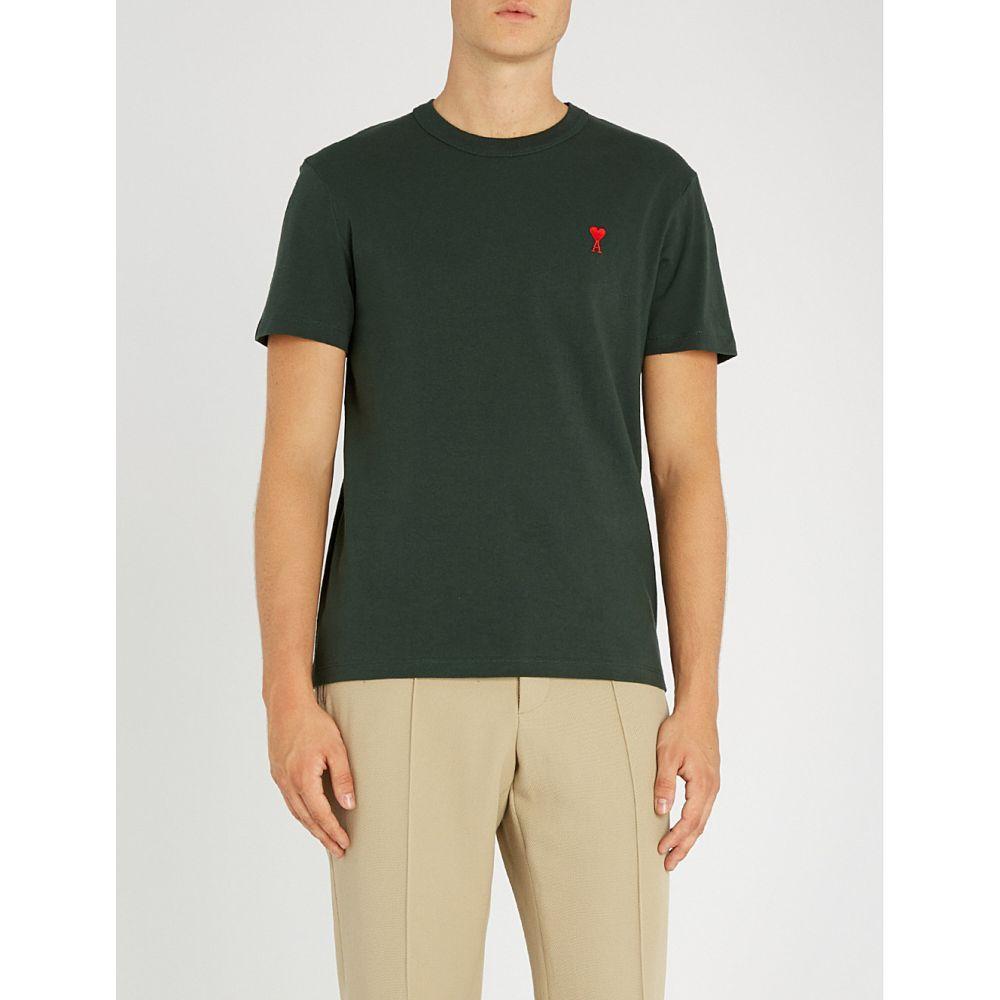 アミアレクサンドルマテュッシ ami alexandre mattiussi メンズ トップス Tシャツ【ami de coeur embroidered cotton-jersey t-shirt】Dark green/