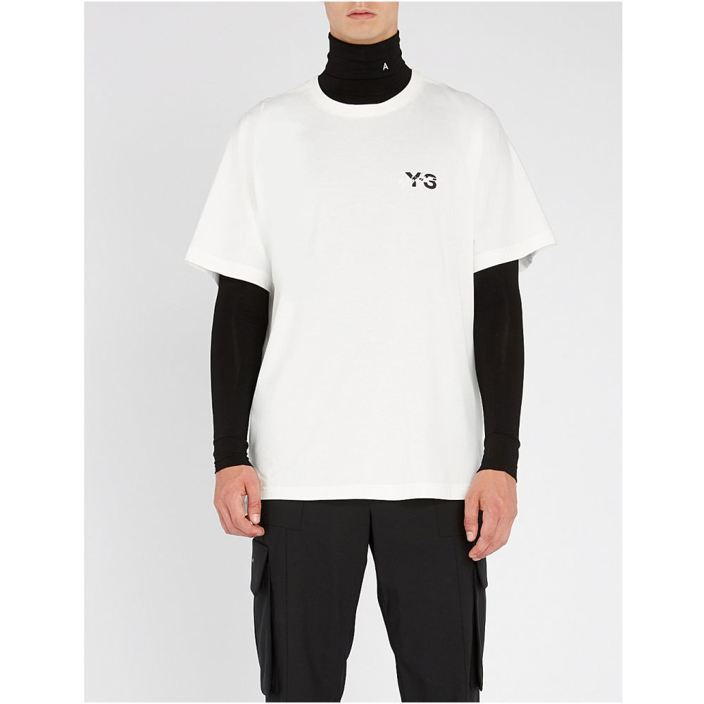 ワイスリー y3 メンズ トップス Tシャツ【signature cotton-jersey t-shirt】Core white