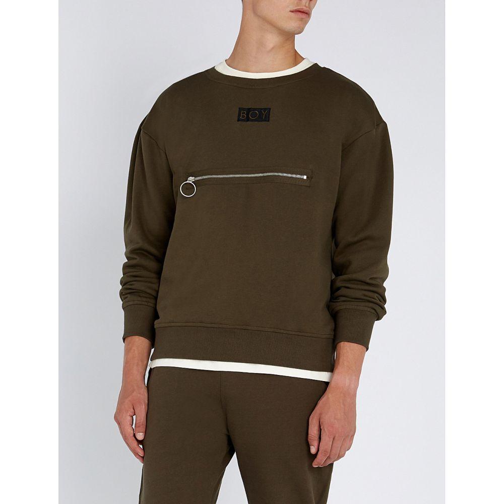 ボーイロンドン boy london メンズ トップス スウェット・トレーナー【logo-embroidered cotton-jersey sweatshirt】Khaki