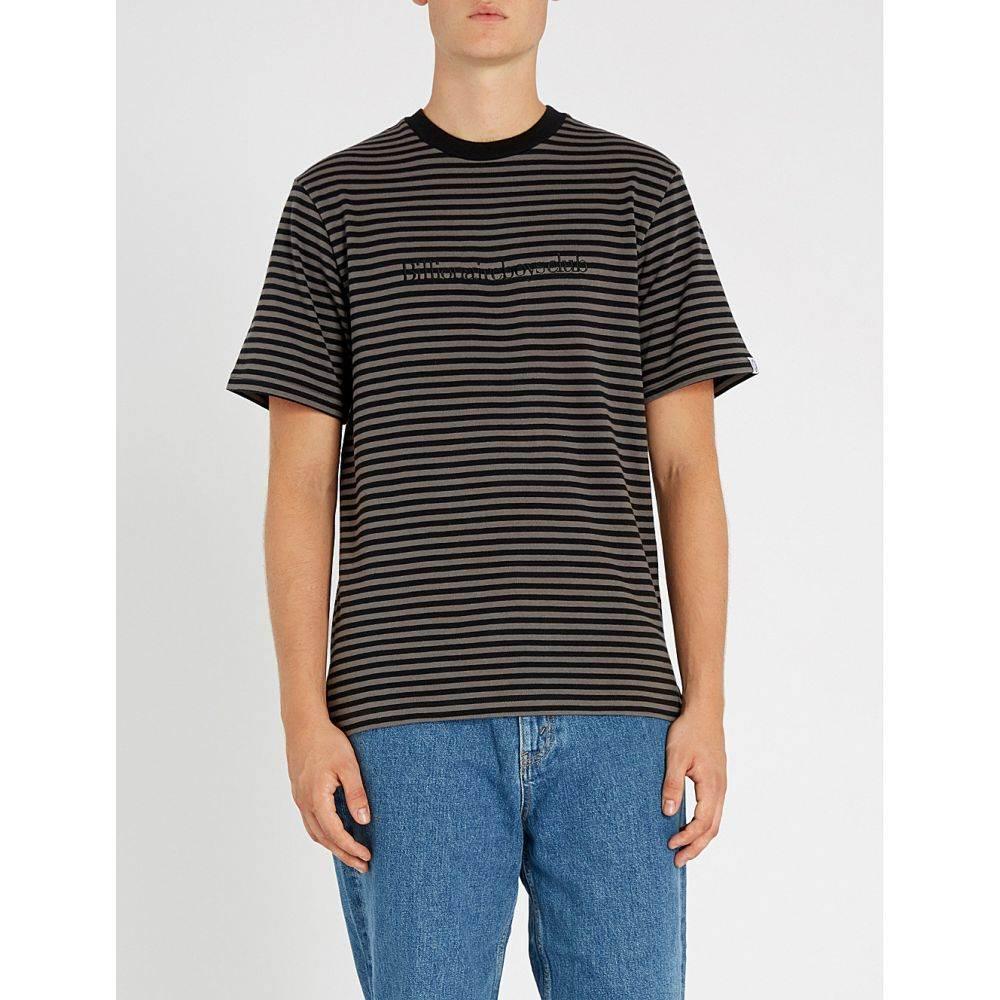 ビリオネアボーイズクラブ billionaire boys club メンズ トップス Tシャツ【logo-embroidered striped cotton-jersey t-shirt】Black
