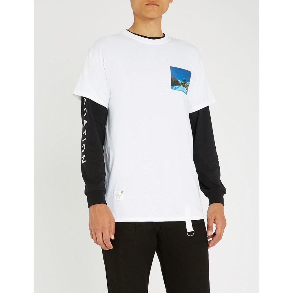 マジック スティック magic stick メンズ トップス Tシャツ【laid back printed cotton-jersey t-shirt】White