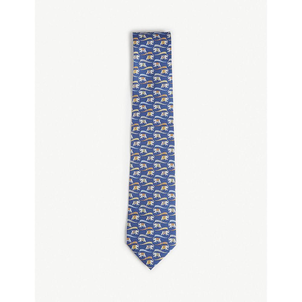 サルヴァトーレ フェラガモ salvatore ferragamo メンズ ネクタイ【vintage elephant silk tie】Blue