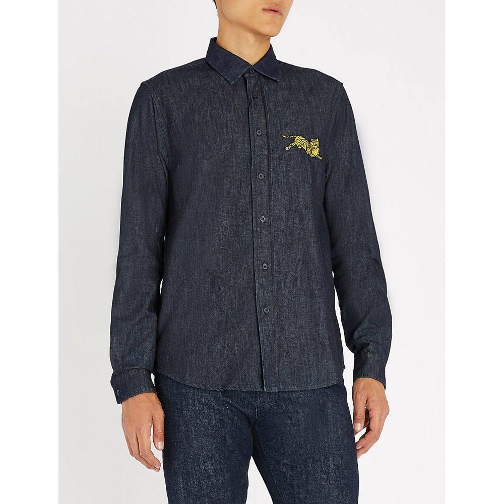 ケンゾー kenzo メンズ トップス シャツ【tiger-detail denim shirt】Navy blue