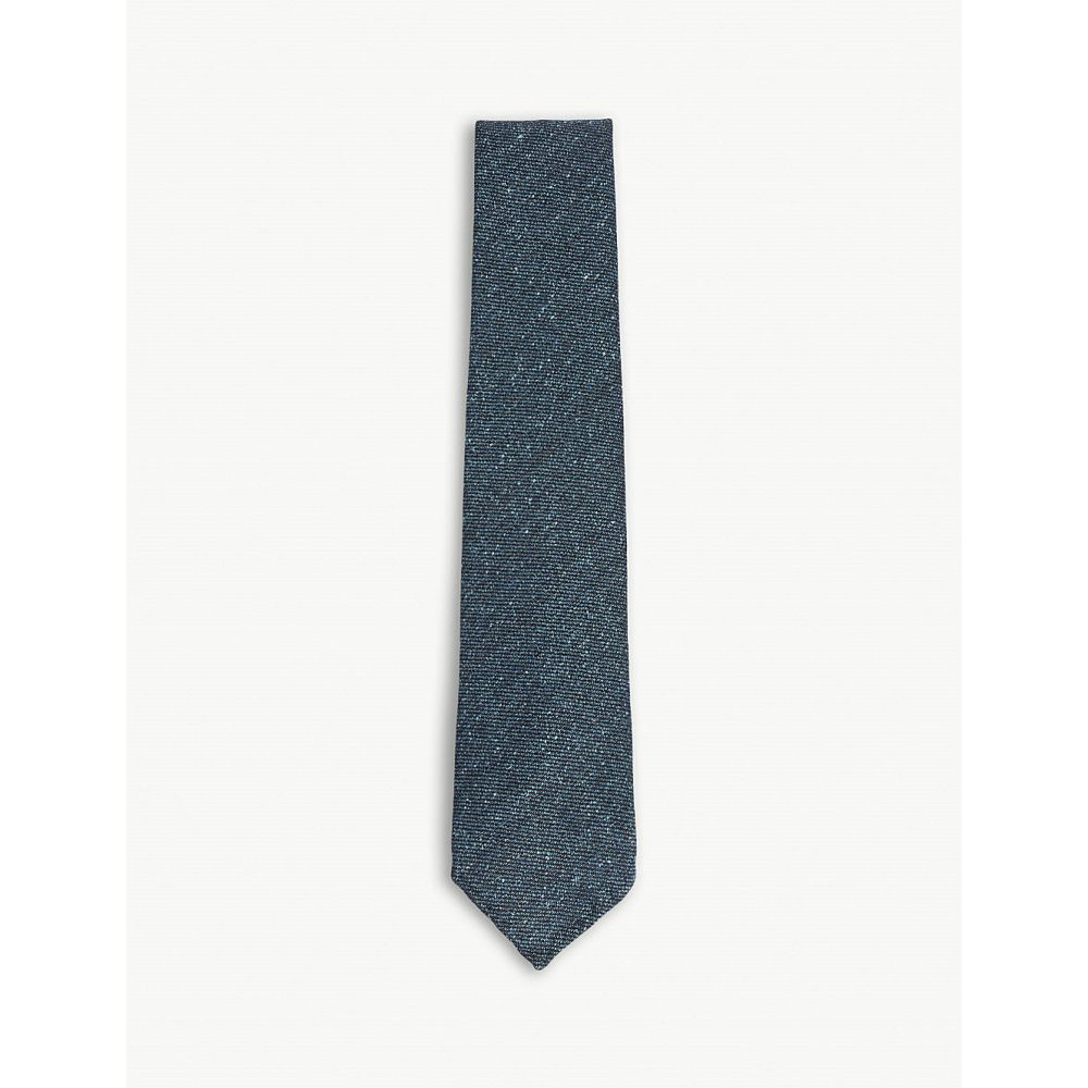ドレイクス drakes メンズ ネクタイ【solid grenadine silk-cotton tie】Green