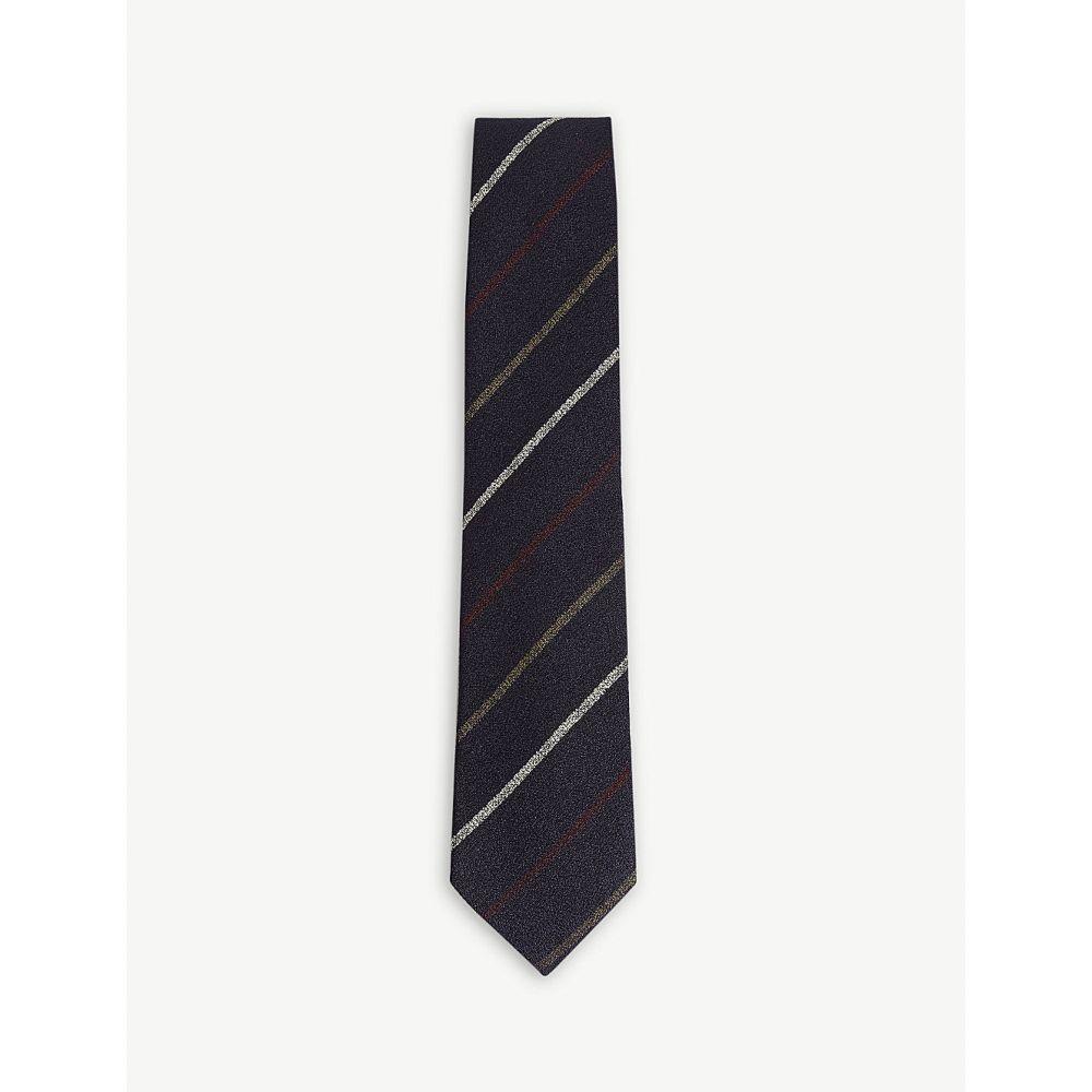 ドレイクス drakes メンズ ネクタイ【contrasting linear stripe silk tie】Navy