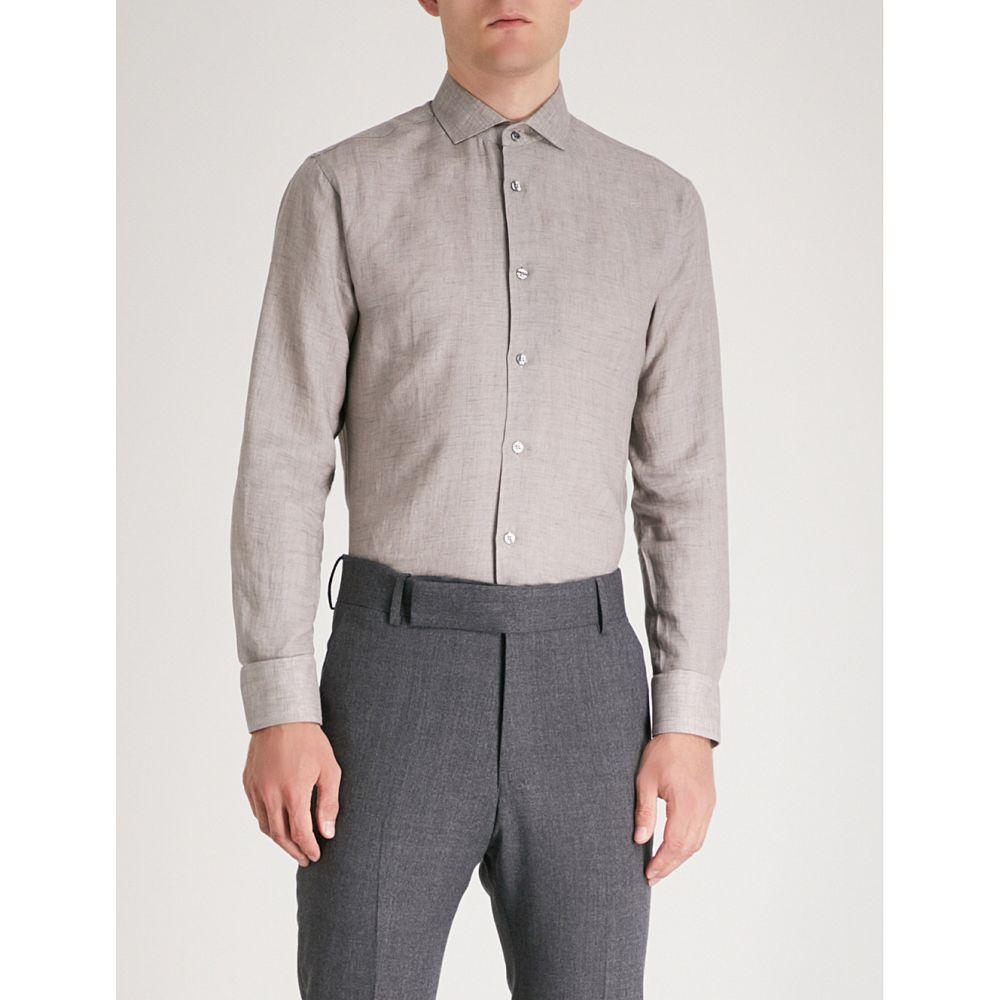 タイガー オブ スウェーデン tiger of sweden メンズ トップス シャツ【slim-fit linen shirt】Green