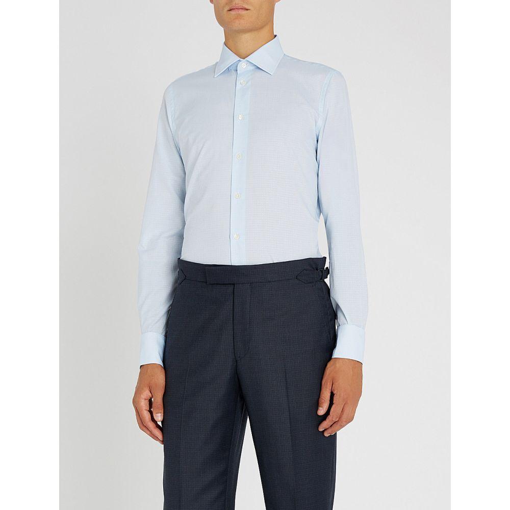 リチャード ジェームス richard james メンズ トップス シャツ【dotted slim-fit cotton shirt】Blue